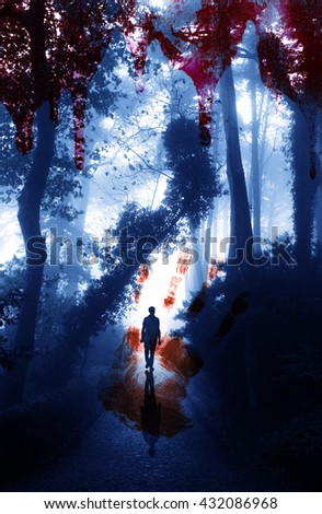 Halloween background. Bloody hand print and blood streaks on the background of the misty forest with men - stock photo