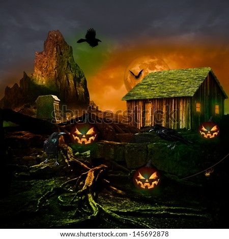 Halloween Background Design Holiday Party Flyer Autumn Scary Twilight Full Moon Haunted House Spooky Night Old Graveyard Cemetery Grave Stone, Black Raven Crow Bat Spider Web Pumpkin Jack o Lantern