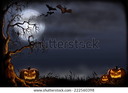 Halloween background digital painting.