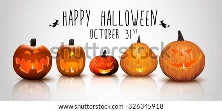 Halloween background Pumpkins  - stock photo