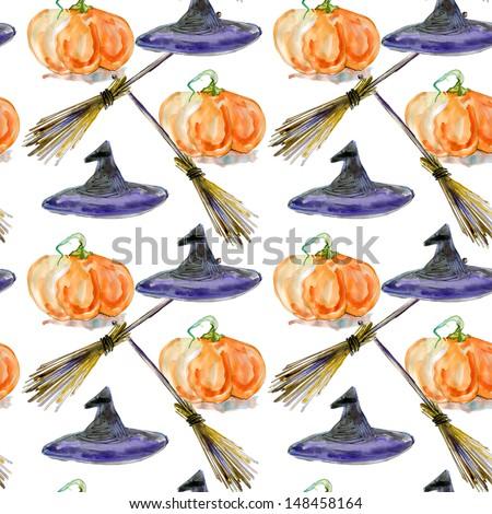 Halloween background. watercolor seamless pattern - stock photo