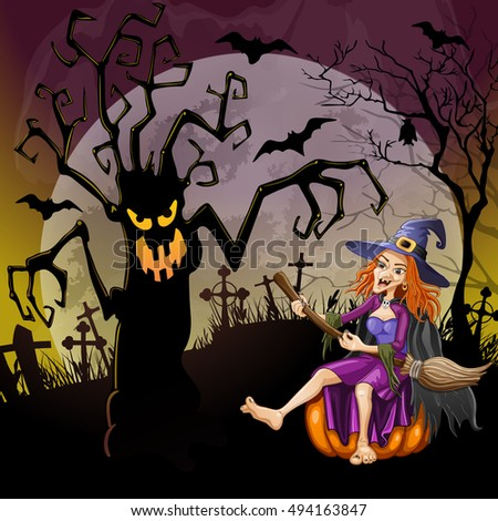 Halloween background with a dreadful monsters trees and happy witch on cemetery