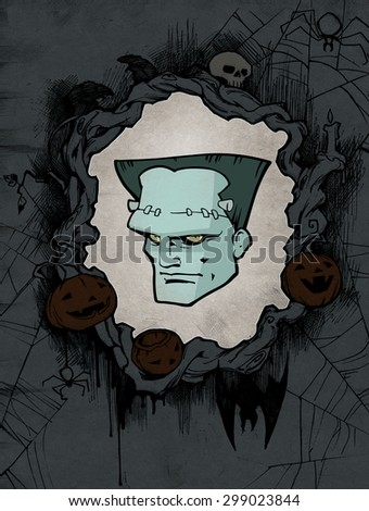 Halloween background with a portrait of a monster - stock photo