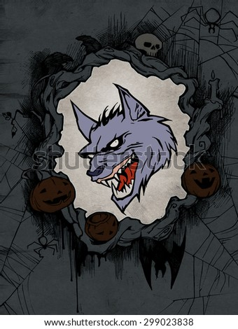 Halloween background with a portrait of a werewolf