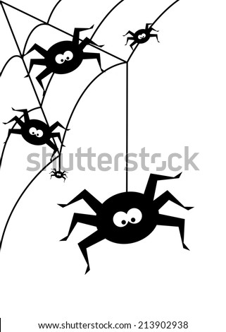 halloween background with  black spiders isolated over white background