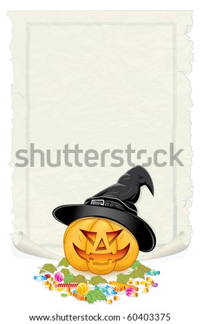 Halloween background with festive pumpkin, candies, sweets and blank parchment for your greeting text. - stock photo