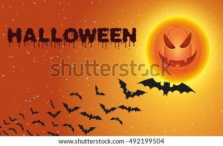 Halloween background with flying bats over full pumpkin moon. illustration Raster version