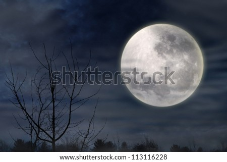 Halloween background with foggy dark night and full moon - stock photo