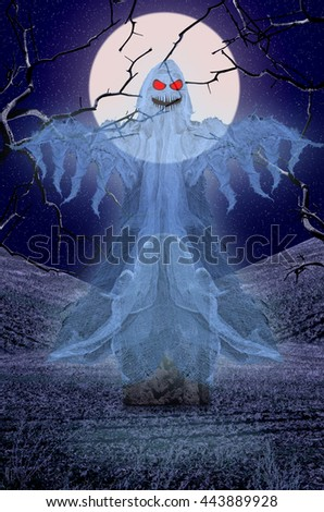 Halloween background with ghostly figure and cemetery. Scary ghost. Graveyard at night. Halloween concept.  - stock photo