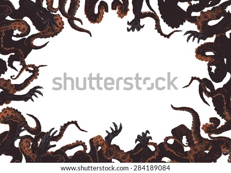 Halloween background with hands of zombies and octopus tentacles.  - stock photo