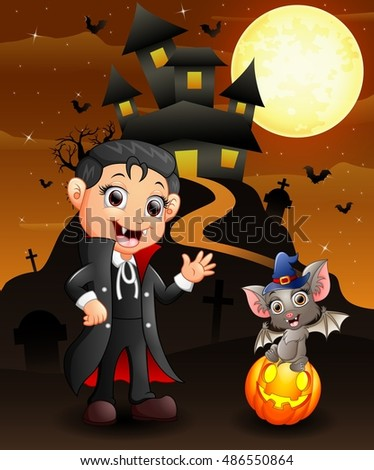 Halloween background with happy child bats and witch boy dracula