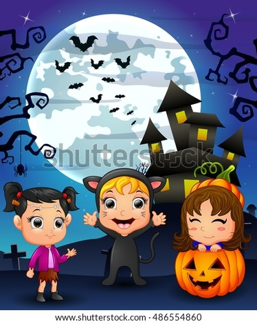 Halloween background with happy girl wearing costume cat, little girl and girl smiling in basket pumpkin