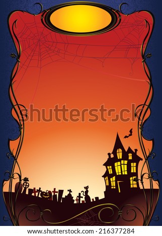 Halloween background with haunted house and graveyard. Seasonal background with copy space.  - stock photo