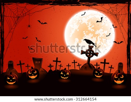 Halloween background with Moon and pumpkins on the cemetery and, illustration. - stock photo
