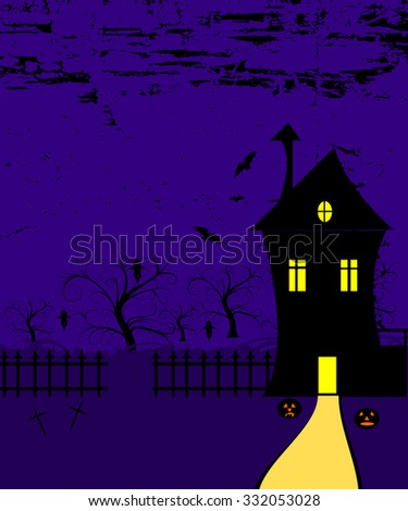 halloween background with scary house - stock photo
