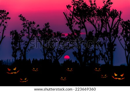 Halloween background with silhouettes tree - stock photo