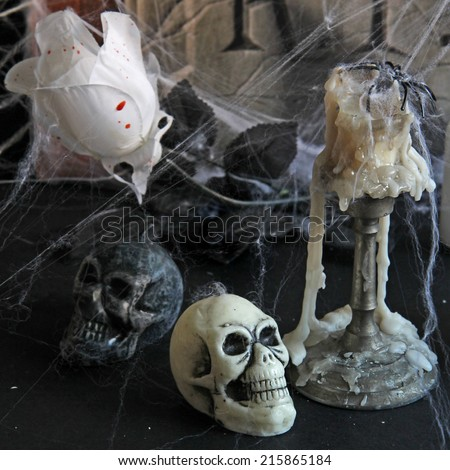 Halloween background with  tombstone, scull, candles, - stock photo