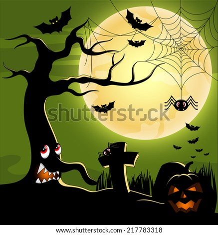 Halloween background with tree monster terrible at the full