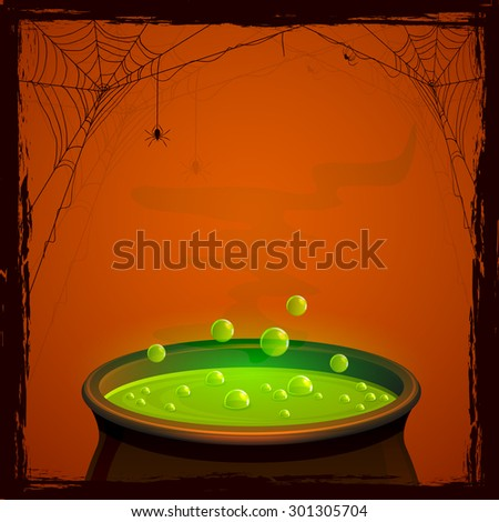 Halloween background with witches pot and green potion, illustration. - stock photo