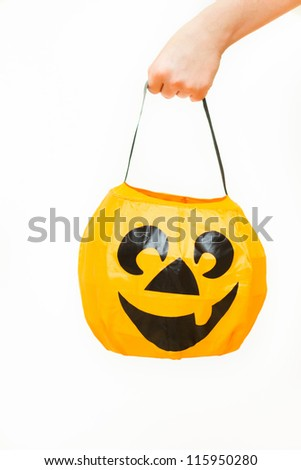 Halloween bag in the hand - stock photo