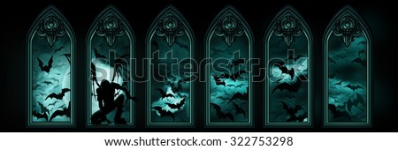 Halloween banner with bats and a fallen angel. Illustration halloween banner with gothic windows, a fallen angel or a vampire, night sky with the moon and flying bats hordes on the background  - stock photo