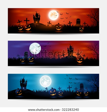 Halloween banners with castle and pumpkins on graveyard, illustration. - stock photo