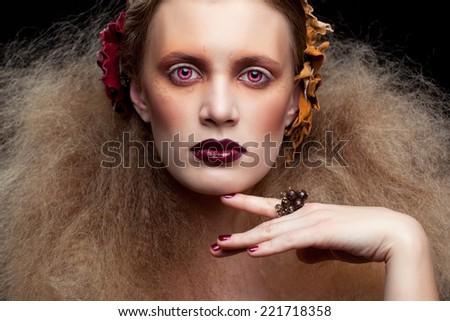 Halloween Beauty style woman makeup - stock photo