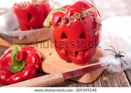 halloween bell pepper - stock photo