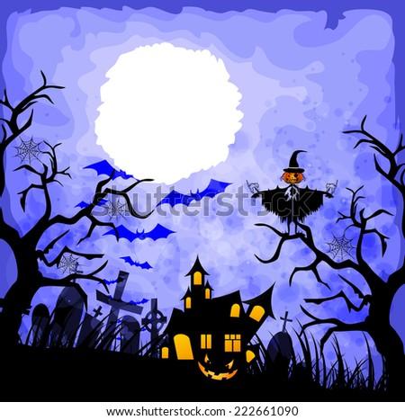halloween blue background - stock photo