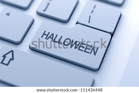 Halloween button on keyboard with soft focus
