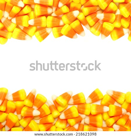 Halloween candy corn double border over white - stock photo
