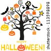 halloween card. Greeting background.  illustration - stock photo