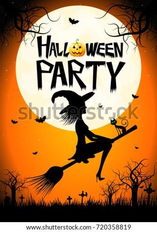 Halloween Card Halloween Party Stock Illustration 720358819 ...