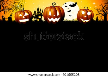 Halloween card illustration/ template.