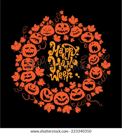 Halloween card - orange silhouette of pumpkins on black background. Card with calligraphic text Happy Halloween. Raster version - stock photo
