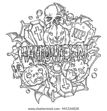Halloween card with pumpkins and horror elements in cartoon style. Black and white