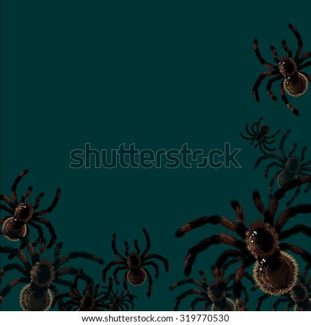 Halloween card with spiders, with a place for your text (raster version) - stock photo