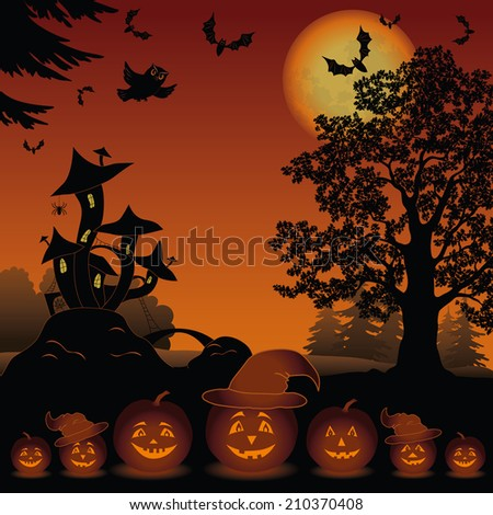 Halloween cartoon landscape with pumpkins Jack-o-lantern, moon, magic Castle - mushroom, owl, trees and bats. Element of this image furnished by NASA  - stock photo