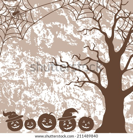 Halloween cartoon landscape with pumpkins Jack-o-lantern, tree, spider and web silhouettes. - stock photo