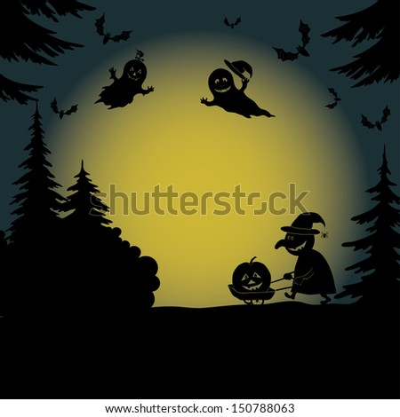 Halloween cartoon landscape with silhouettes of trees, ghosts, a witch with a pumpkin on a cart and bats.