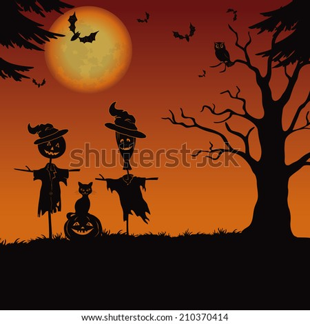 Halloween cartoon landscape with the moon, pumpkin Jack-o-lantern, scarecrows, cat, owl, trees and bats. Element of this image furnished by NASA  - stock photo
