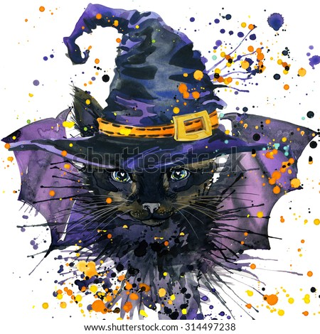 Halloween cat and a witch hat. Watercolor illustration background for the holiday Halloween. watercolor texture Halloween cat werewolf - stock photo