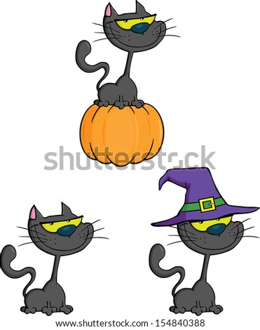 Halloween Cat Cartoon Mascot Characters. Raster Collection Set  - stock photo