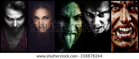 Halloween collage â?? evil scary horror faces of women and men