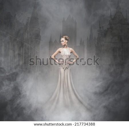 Halloween collage with the sexy vampire and a night background - stock photo