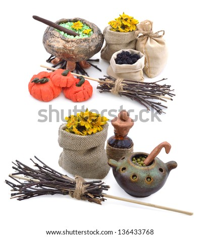 Halloween compositions with pumpkin, broomstick and magic objects - stock photo