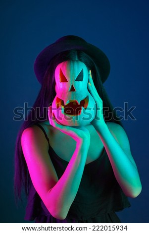 halloween. concept. pumpkin instead of a face - stock photo