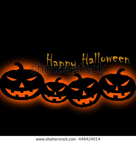 Halloween concept. Pumpkins in silhouette black with orange back-lit. Square format. - stock photo