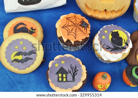 Halloween cookies.Composition for Halloween with sweets  - stock photo