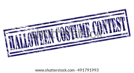 halloween costume contest stamp on white background